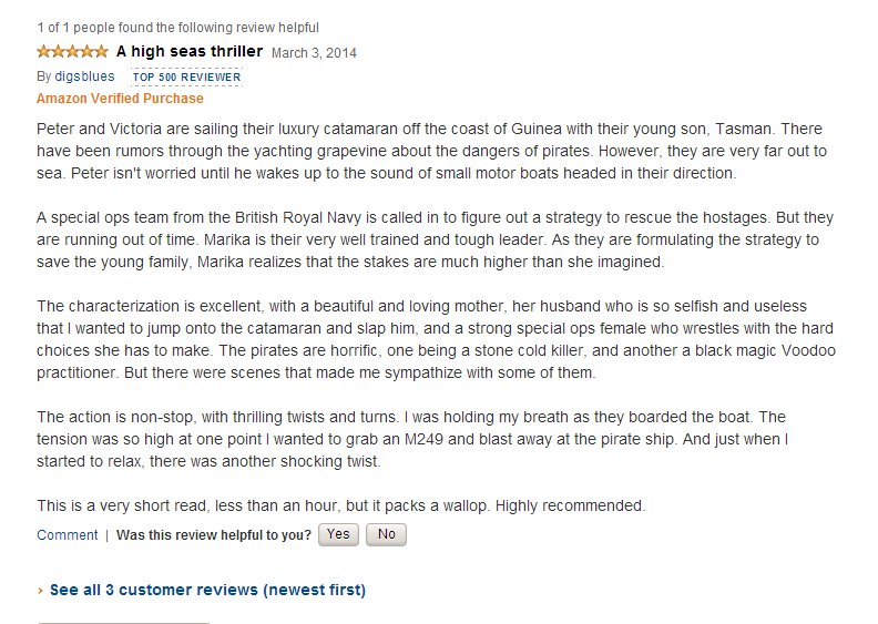 Five star review for Voodoo Dawn from Amazon Top 500 Reviewer.